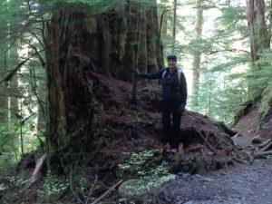 Lake Twentytwo Hiking Tour person by tree