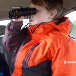Winter Birding for kids, using binoculars